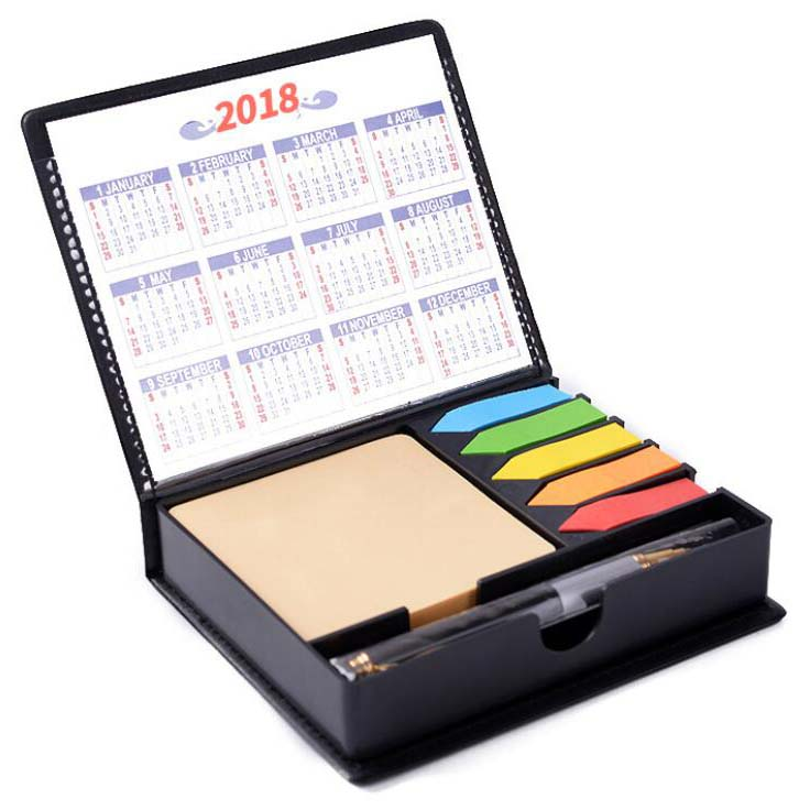 Promotional items PU Leather Cover Sticky Note Sets with gift pens