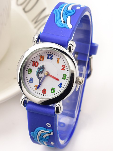 Rubber Strap Lovely 3D Cartoon kids watch for Girls Boys Wrist Watch