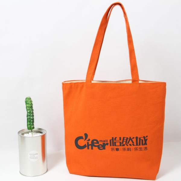 Wholesale custom zipper organic cotton canvas tote shopping bag with black logo
