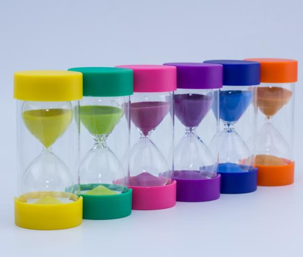 Colorful sand timer glass sand timer hourglass with end cap