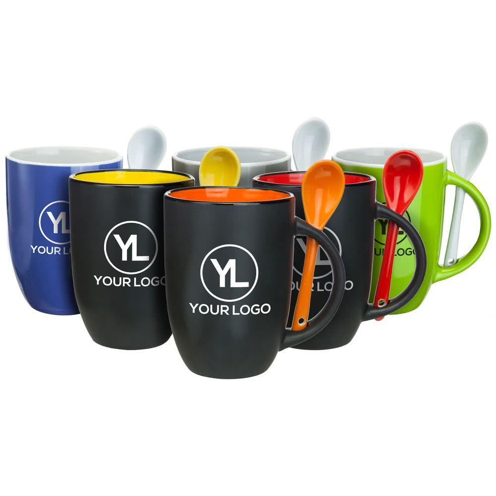 12oz coffee mug with spoon,spooner mug