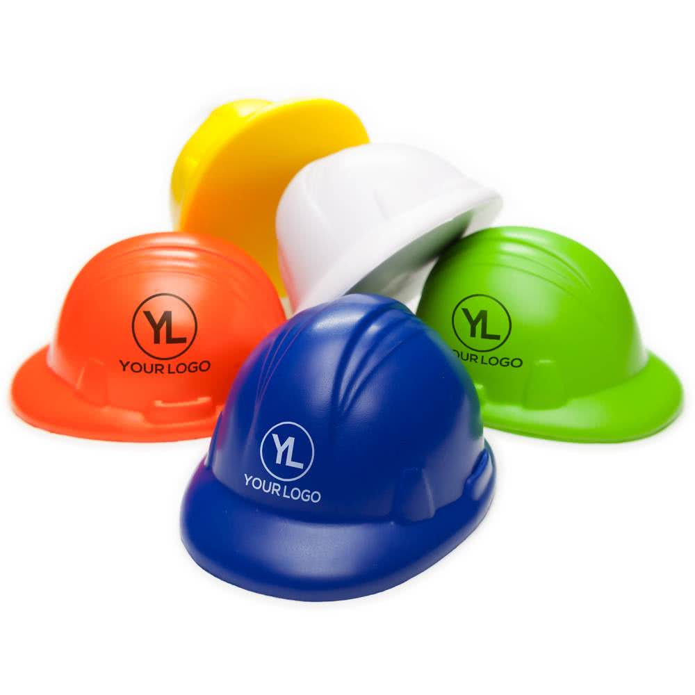 Custom Imprint PU Helmet Hard Hat Stress Ball