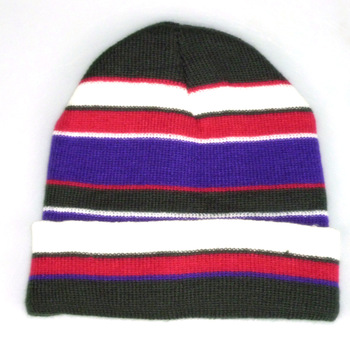 100% Acrylic Made Stripe Jacquard Custom Wholesale Knit Beanie