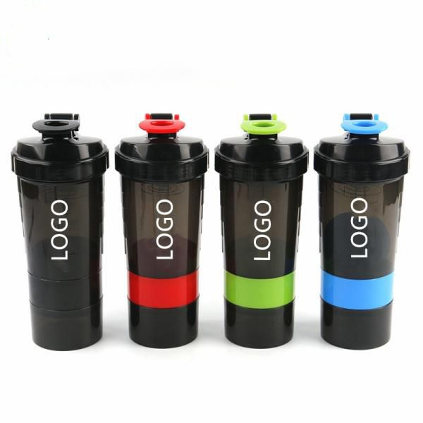 3 in 1 BPA free plastic Sports Gym Protein shaker bottle with inserted mixer ball