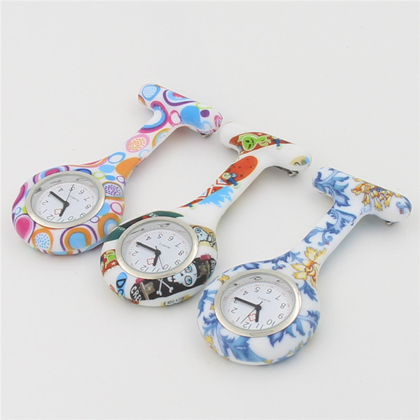 New Printing Flowers Silicone Hanging Nurse Watch