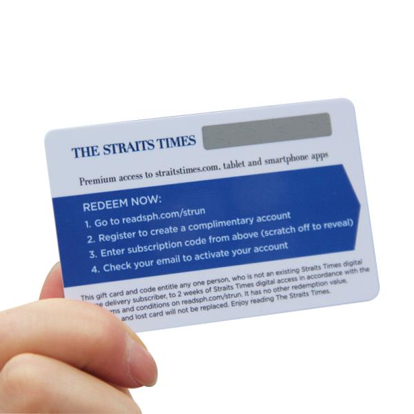 PVC Plastic Calling Card Scratch Recharge Prepaid Card