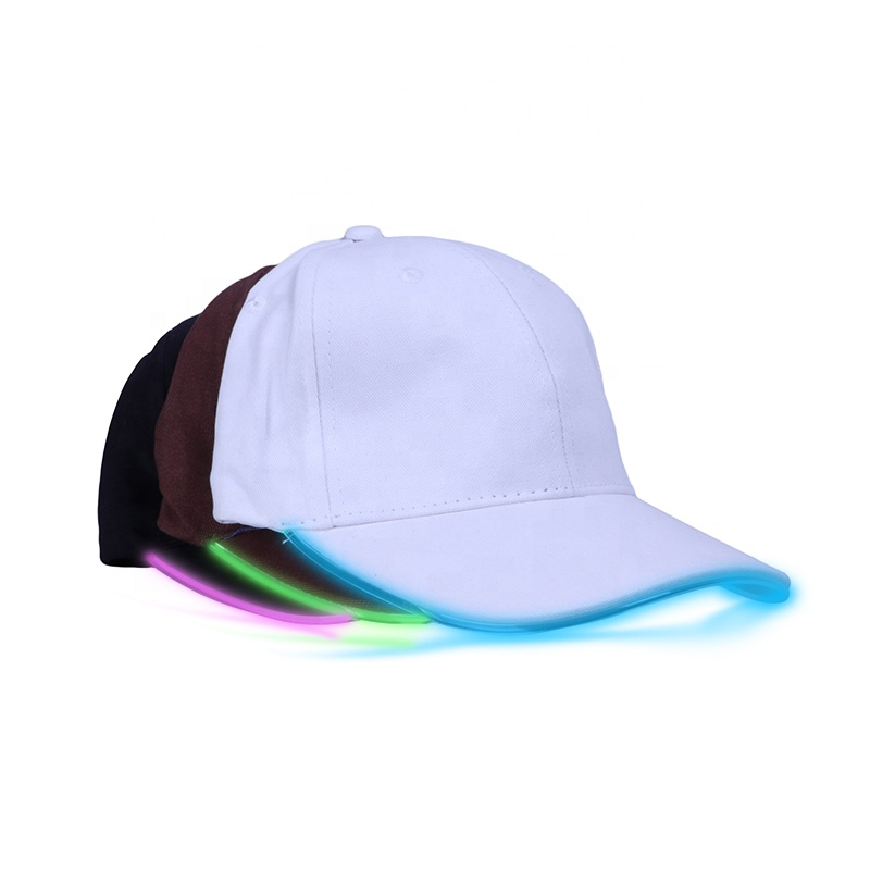 Cheap 6 Panels LED Glowing Flash Baseball Cap With Custom Logo