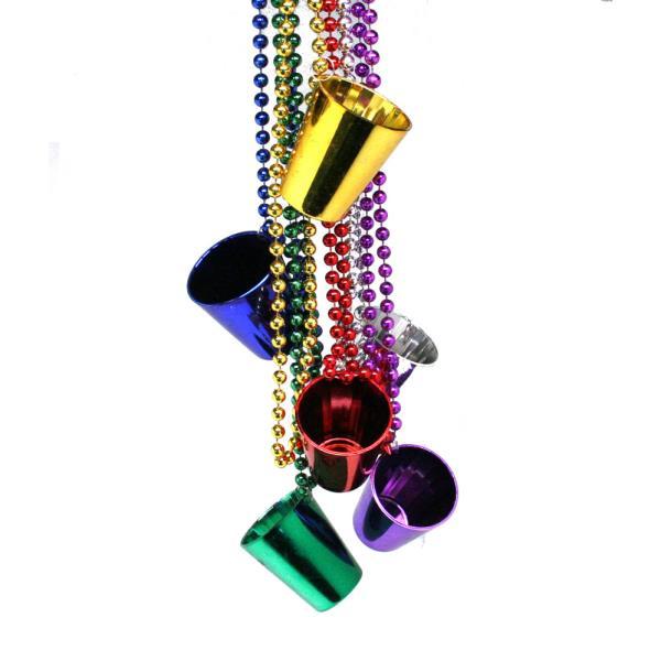Mardi Gras Shot Glass Beads Necklace