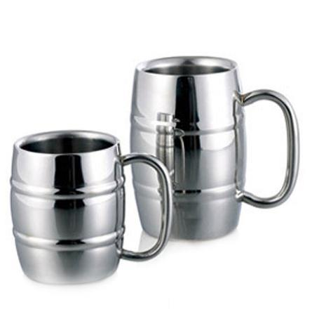 16 oz/450ml stainless steel barrel shaped beer mug with customized logo