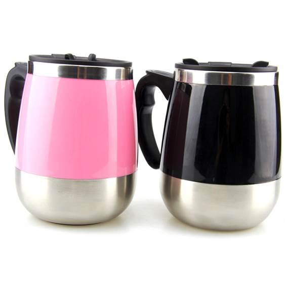 Colorful Surface Stainless Steel Self Stirring Coffee Mug
