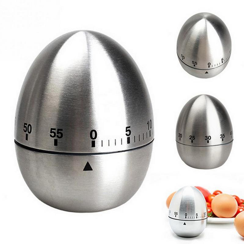 Oval 60 Pieces Countdown Egg-shaped Timber Mechanical Countdown Kitchen Countdown Stainless Steel Timer