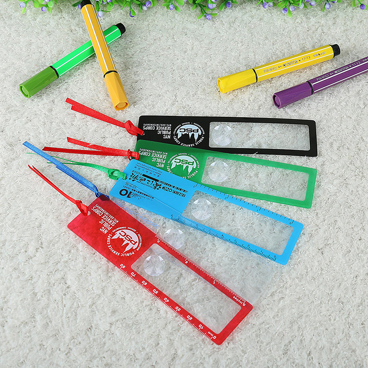 Wholesale Advertising promotion Customized 3X PVC fresnel lens ruler bookmark magnifier
