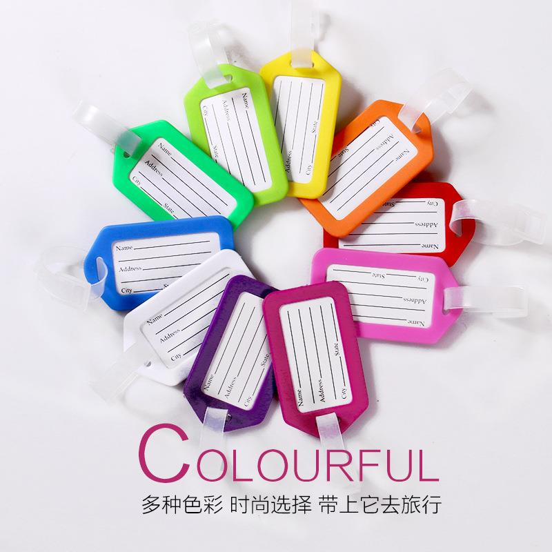 OEM Wholesale candy color travel boarding blank PP vinyl hard plastic card luggage tag