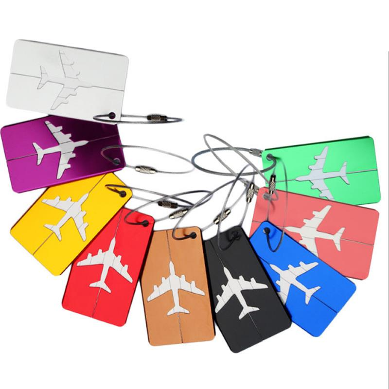 2019 Promotional Custom Logo Blank Travel Aluminum Alloy Airplane Luggage Tag with Replaceable Paper Name Card