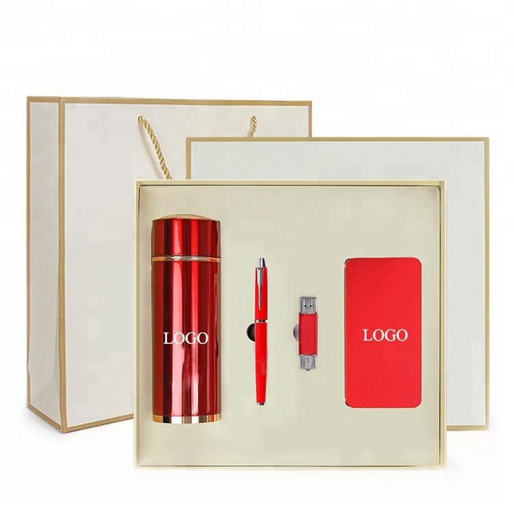 promotional Business gift set with vacuum flask and metal pen and notebook