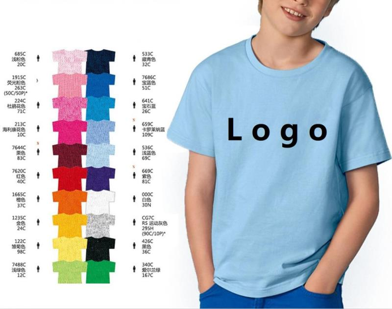 OEM unisex girl boy bulk kids round neck cotton plain print wholesale children t shirt kids t-shirt