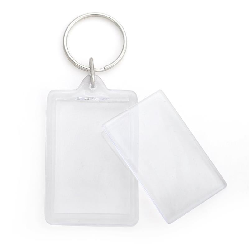 Promotional plastic acrylic rectangle keyring holder