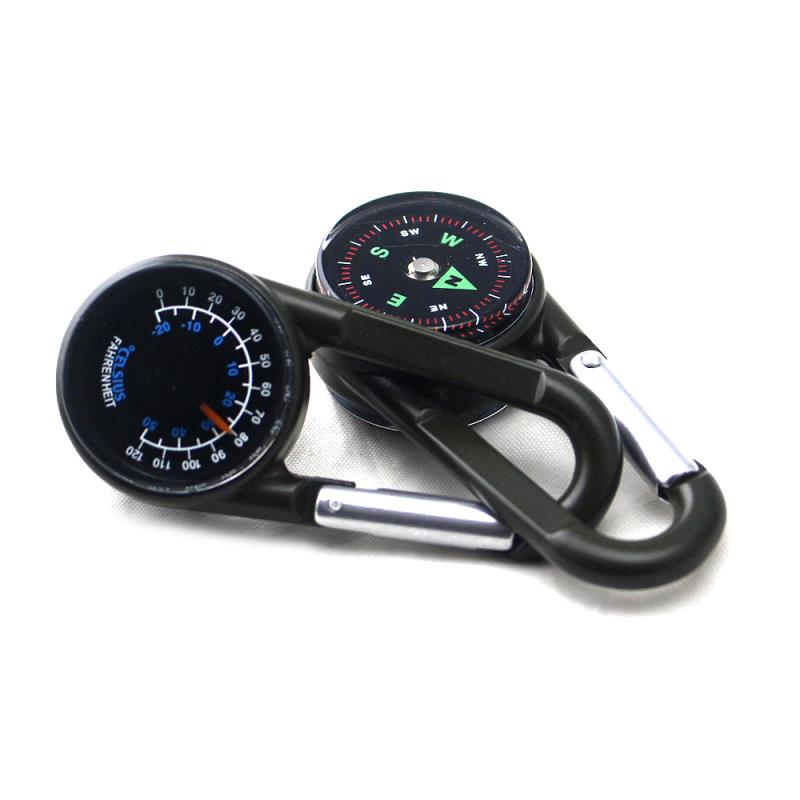 Compass and Thermometer Carabiner Hiking, Backpacking, and Camping Accessory