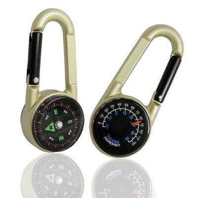 Outdoor zinc alloy hook compass for hiking /carabiner compass