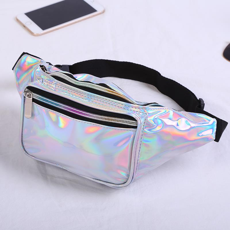 Laser Fabric Glitter Hologram Holographic Leather Bumbag Fanny Pack Wholesale