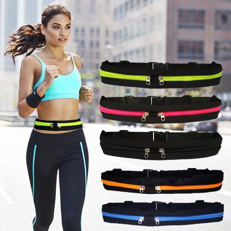 sports running bag outdoor dual pouch sweatproof reflective waist pack fitness workout belt fanny pack