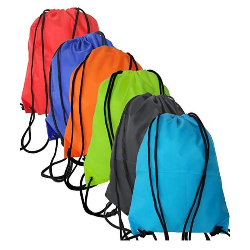 Promo custom print folding nylon drawstring bag backpack