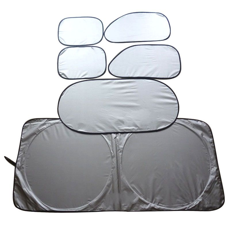 170T silver coated double lap six pieces set car window sunshade
