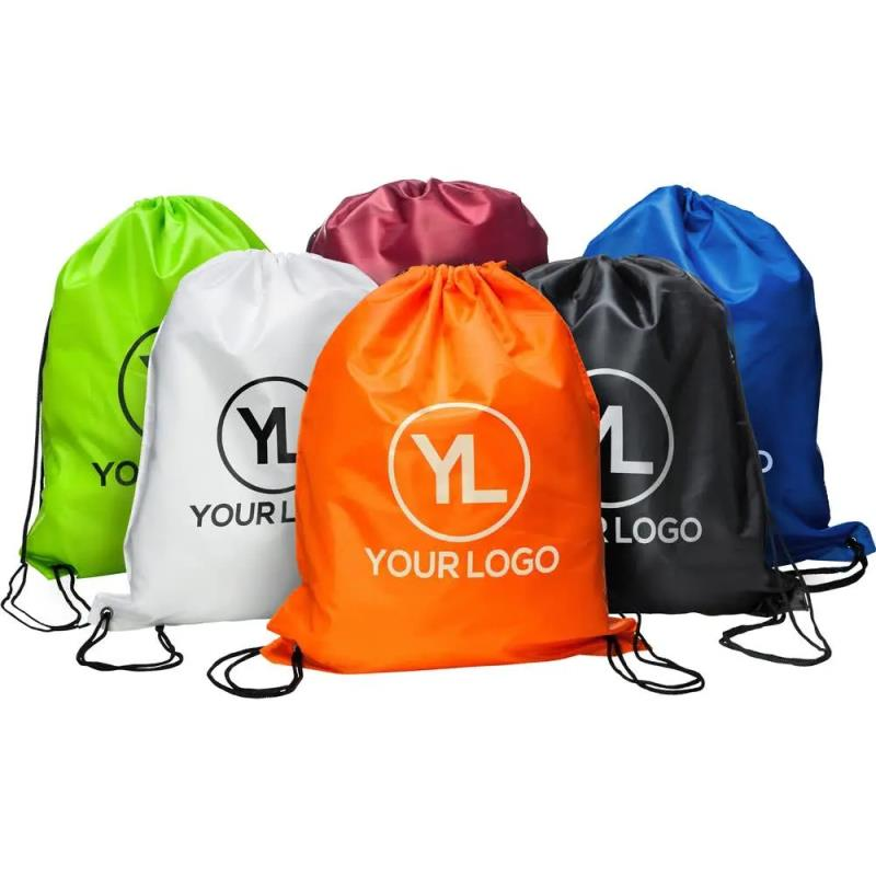 210D Polyester Custom Sports Drawstring Bag With Logo