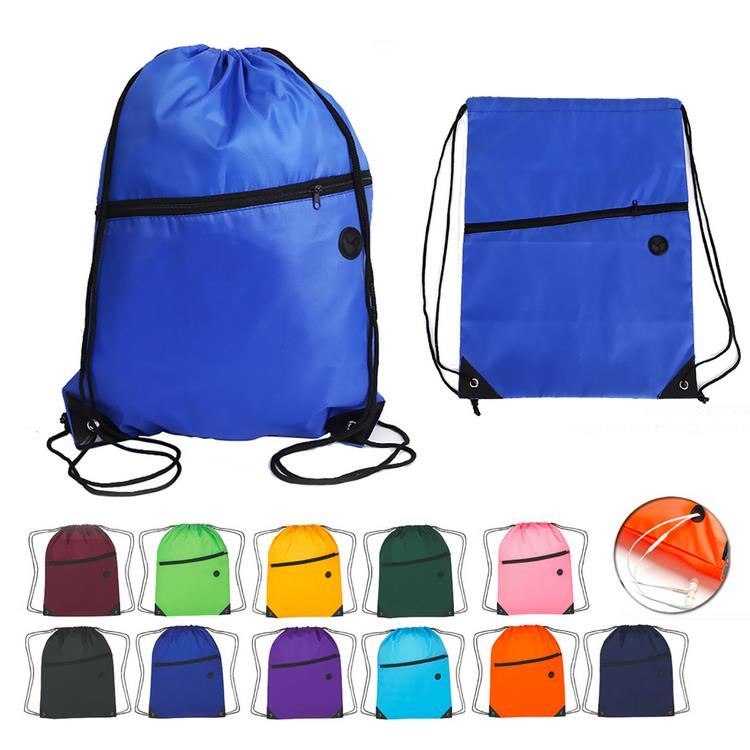210D Polyester Zipper Pocket Drawstring Backpack