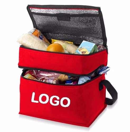 Double Compartment Polyester Insulated Lunch Cooler Bag