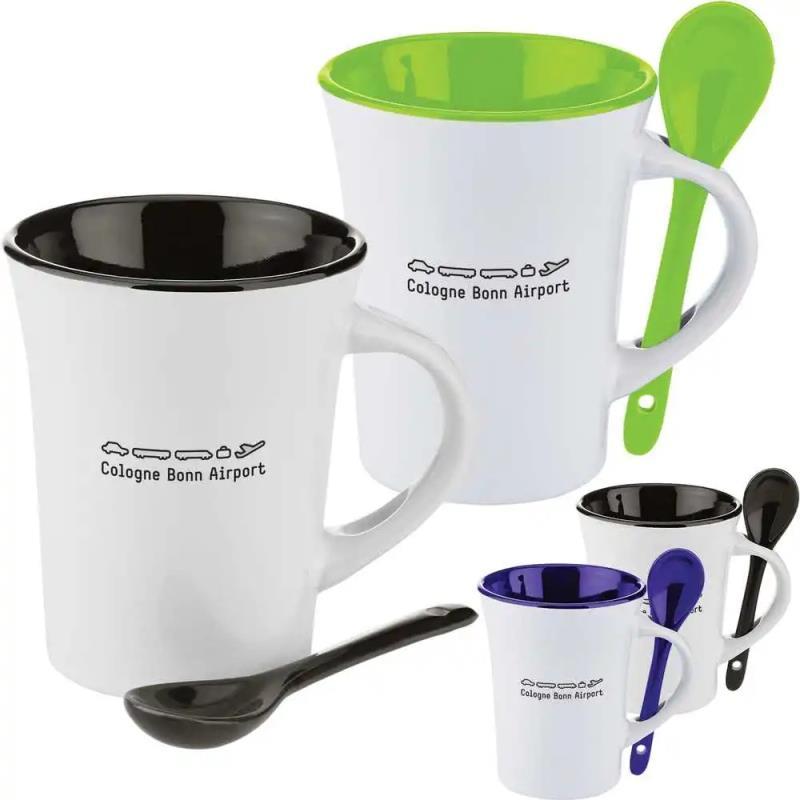 ceramic custom mugs, spooner mugs,mug with spoon