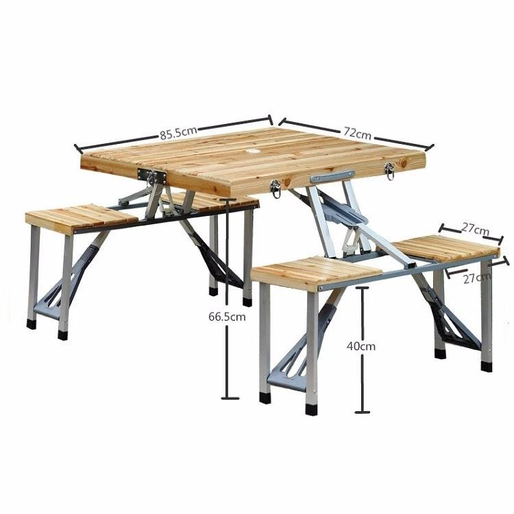 Wooden outdoor folding table sets picnic camping foldable table with chair