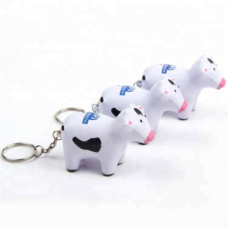 Soft pu foam cow keychain stress ball