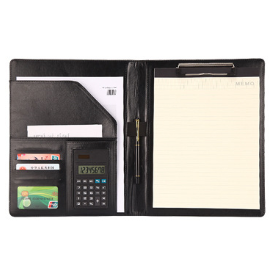 Fashion Office Manager Business Conference A4 Black PU Leather Meeting Folder