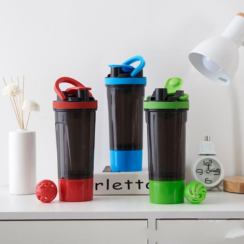 Plastic Protein Shaker Bottle With Mixing Ball And Colorful Lid