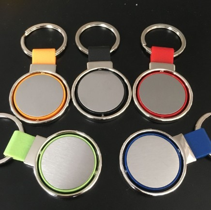 PU leather key chain metal can be rotated key chain with laser logo key chain