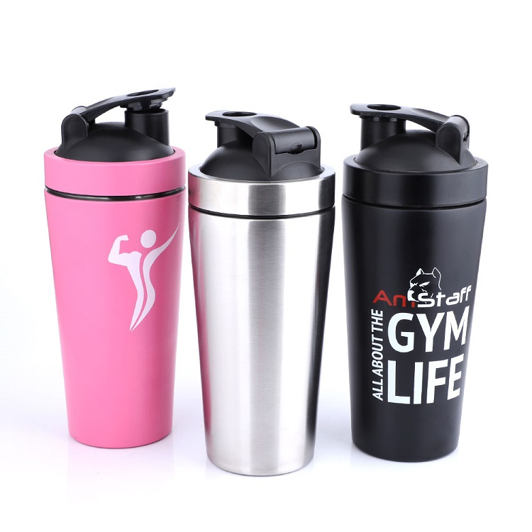 304 Stainless Steel Capacity Mark Leak-Proof Gym Protein Shaker Water Bottles
