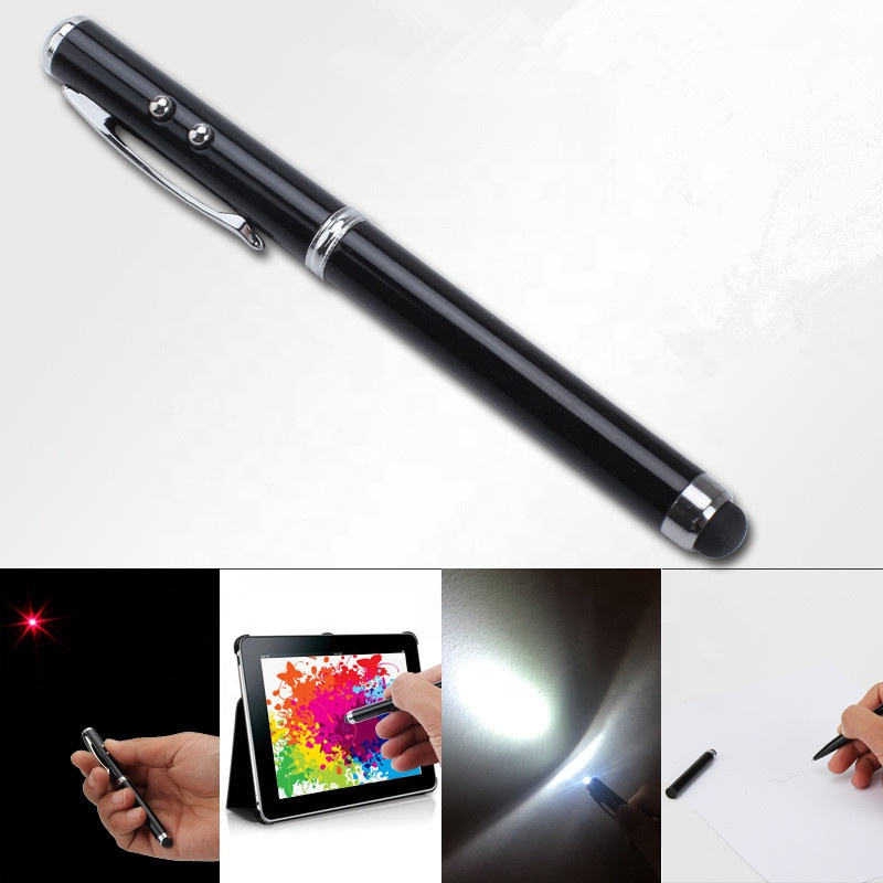 4 in 1 multi-function metal ballpoint pen, red laser point and LED white light pen with stylus