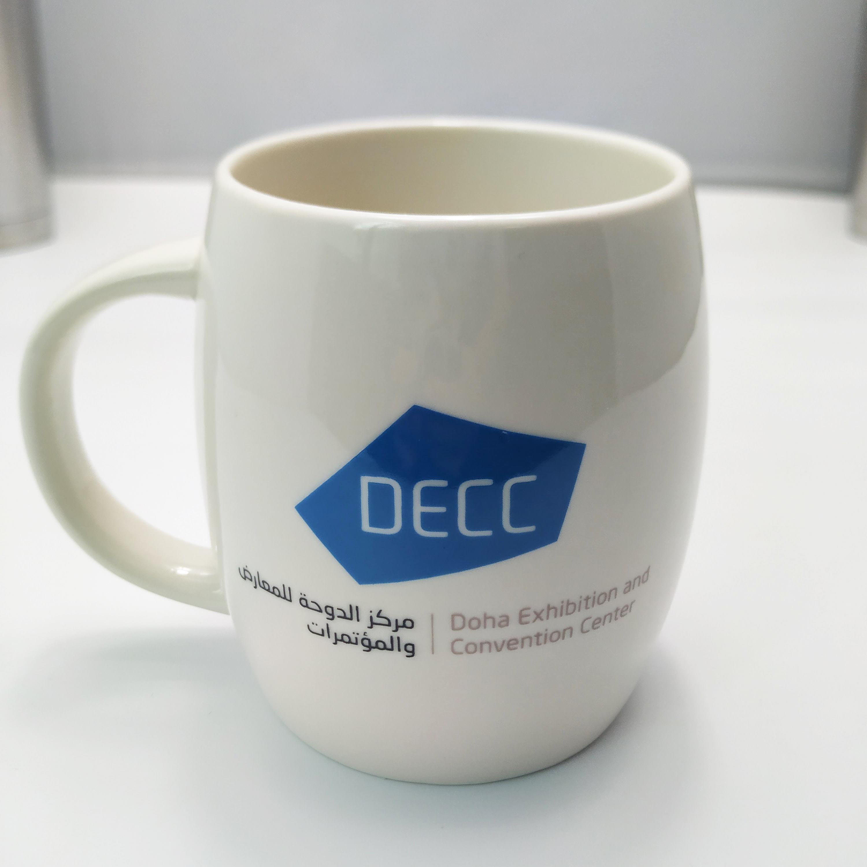 White Barrel Coffee Mug Plain High Quality 400ml Porcelain Barrel Shape Mug For Coffee Shop