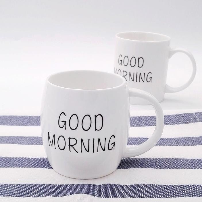 Hot selling bulk funny white ceramic coffee barrel letter mug