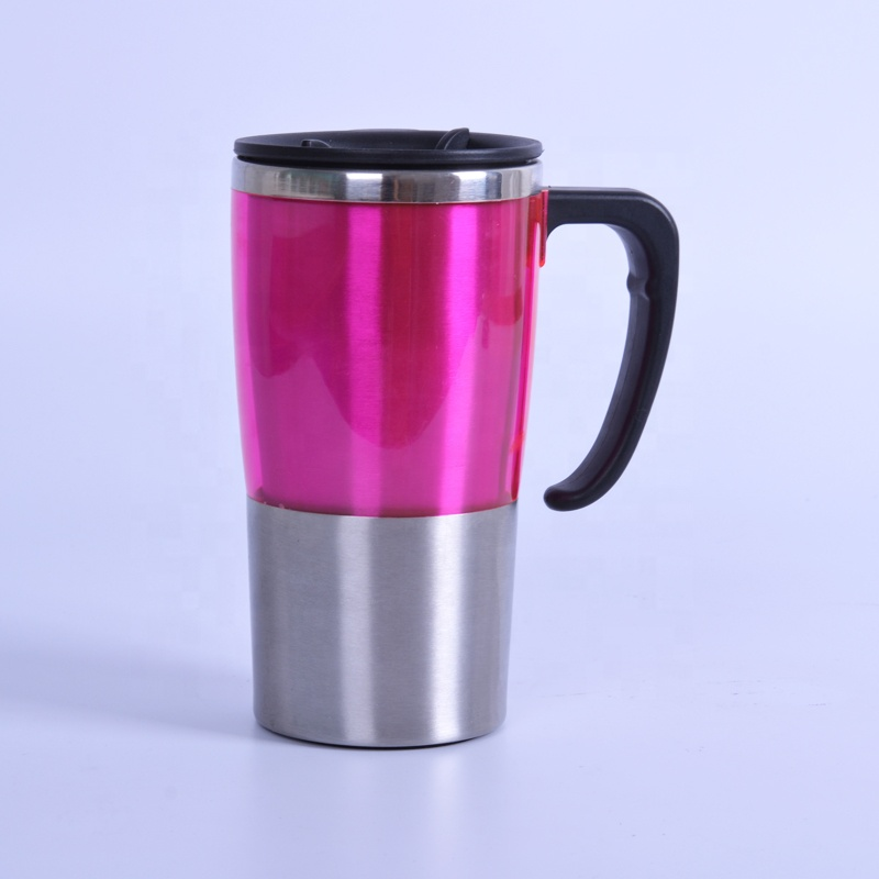 Customized Fashionable Double Wall Stainess Steel Plastic Auto Mug With Handle And Lid