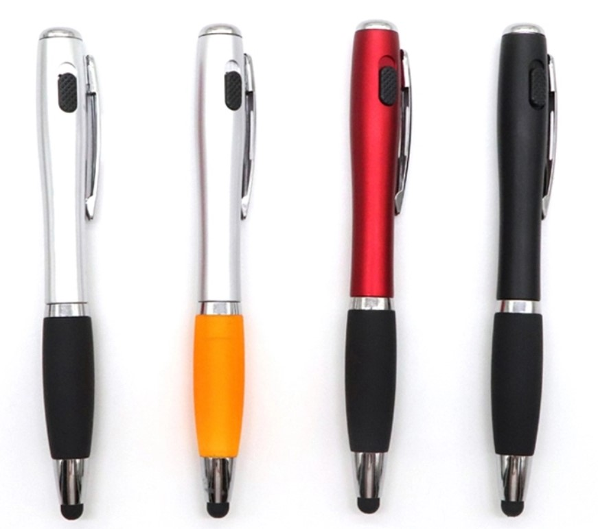 3 In 1 Led Metal Pen Light Tip Ball With Stylus Flashlight Led Stylus Ballpoint Pen