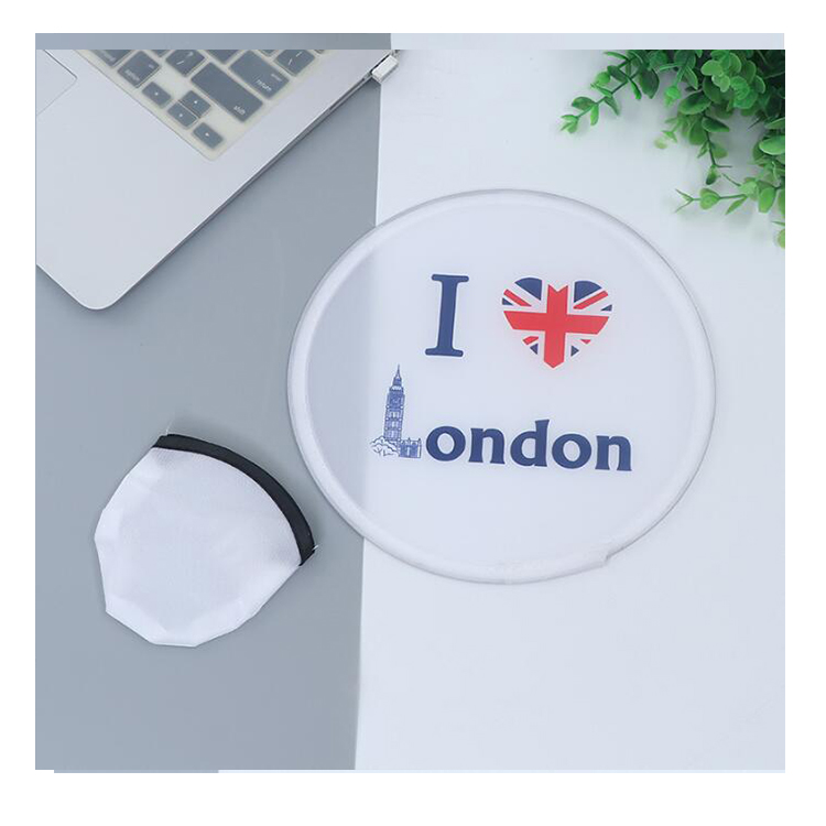 personalized hand held round folding blank fan recycled flying disc