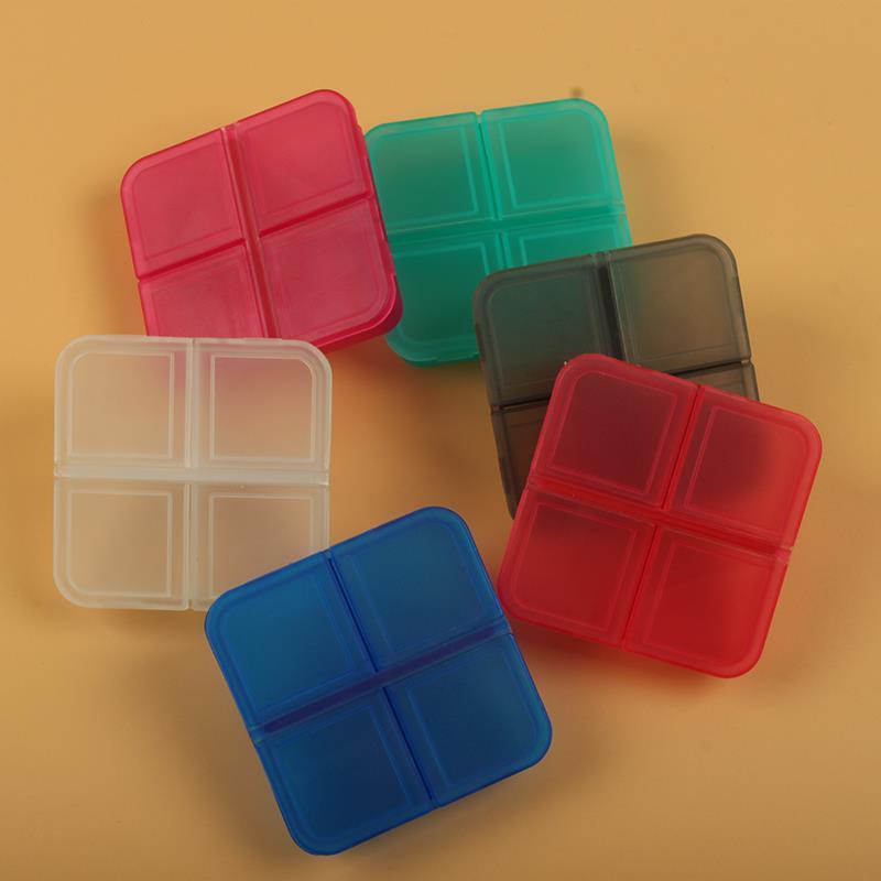 custom square 4 compartment plastic pill box case