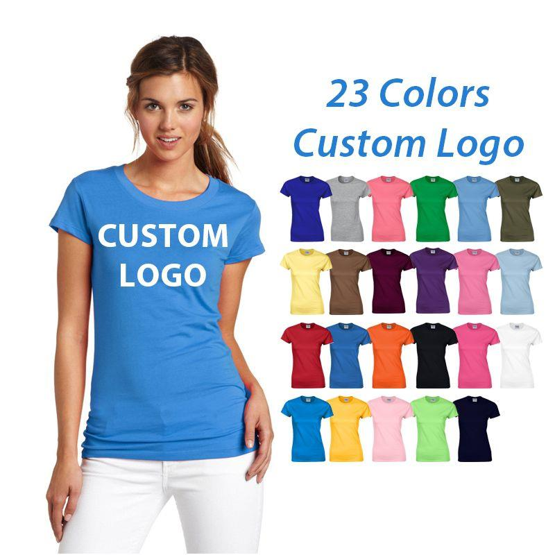 Personalized Blank Short Sleeve Womens T Shirts 100% Cotton Unisex White Tee Shirt