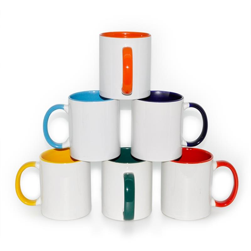 two tone mug ceramic cups 11oz handle solid color inside coffee mugs for sublimation printing
