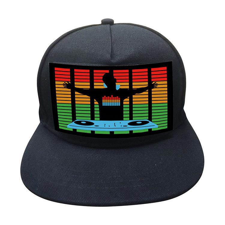 Sound Activated Baseball Cap DJ LED Flashing Hat With Detachable Screen