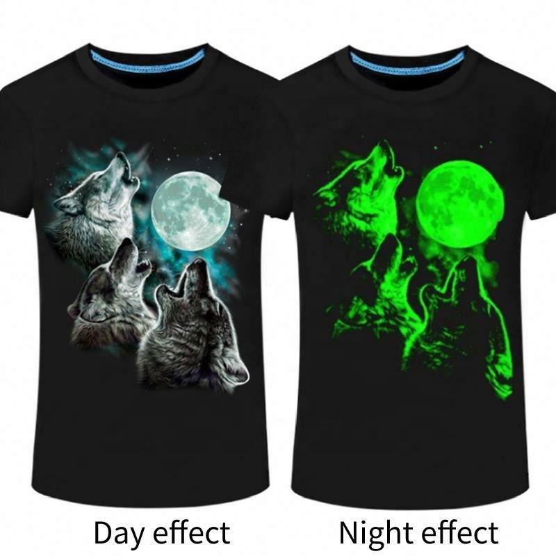 3D breathable o-neck fluorescence Luminous casual short sleeve tops t-shirt