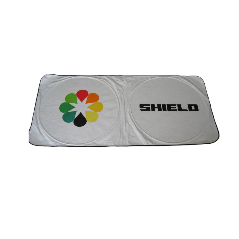 Custom printing car window sun shades foldable white dupont car sunshade