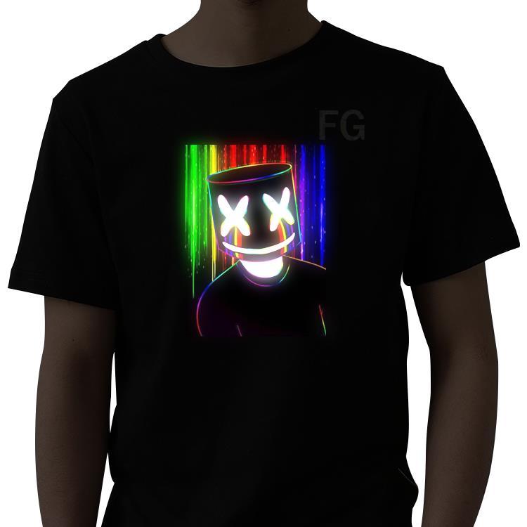 Factory supply El flash Programmable led t shirt